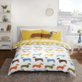Novelty Sausage Dog Duvet Cover Set - Multi