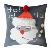 Christmas Ho Ho Ho Santa Filled Cushion - Grey