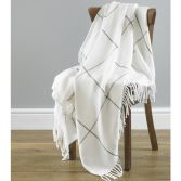 Isla Check Acrylic Throw - White Grey