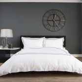 Montpellier 100% Cotton Duvet Cover Set - White & Navy