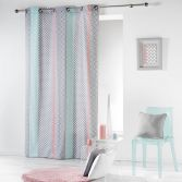 Baltic 100% Cotton Multi Coloured Geometric Ready Made Single Eyelet Curtain Panel - Pink & Mint Green