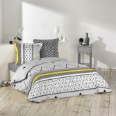Yellow Mix 100% Cotton Duvet Cover Set with Geometric Print - Grey & Yellow