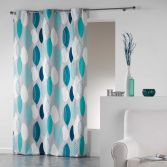 Leafy 100% Cotton Ready Made Single Eyelet Curtain Panel  - Blue & Silver Grey