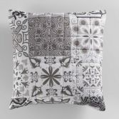Persane Patchwork Filled Cushion - Silver Grey