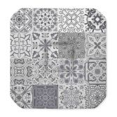 Persane Patchwork Polyester Seat Pad With Flaps - Silver Grey