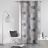 Persane Patchwork 100% Cotton Ready Made Single Eyelet Curtain Panel  - Silver Grey