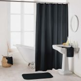 Essencia Plain Shower Curtain Extra Long Drop with Hooks - Black