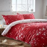 Galaxy Thermal Flannelette Reversible Duvet Cover Set - Red
