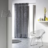 Silver Swirls Eyelet Voile Curtain Panel - Charcoal Grey