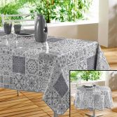 Persane Patchwork PVC Wipe Clean Tablecloth - Silver Grey
