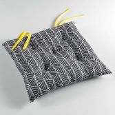Modern Style Yellow 100% Cotton Quilted Seat Pad - Grey