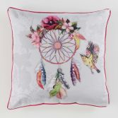 Bohemia Floral Filled Cushion with Piping - Pink