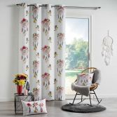 Bohemia Floral Curtain Panel with Eyelet Top - Pink