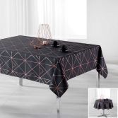 Luxury Quadris Geometric Tablecloth - Charcoal Grey with Gold Pink Metallic Print