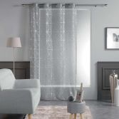 Luxury Quadris Geometric Voile Eyelet Curtain Panel - Grey with Silver Metallic Print