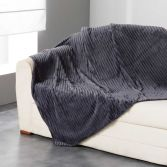 Zeline Flannel Jacquard Throw - Charcoal Grey