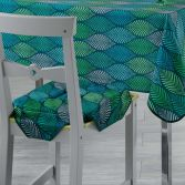 Winter Green Printed Chair Seat Pad - Green & Blue