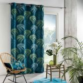 Vegetal Eyelet Curtain Panel with Printed Palm Leaves - Blue & Green