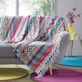 Waxy Multicoloured Flannel Throw with Fringe