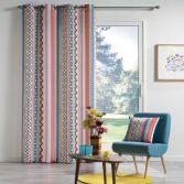 Waxy Multicoloured Curtain Panel with Eyelet Top