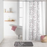 Effervescence Shower Curtain with Hooks - Grey & Pink
