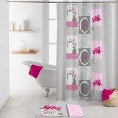 Imako Shower Curtain with Hooks - Grey & Pink