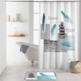 Equilibre Shower Curtain with Hooks - Grey & Blue