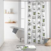 Relaxa Shower Curtain with Hooks - Grey & Green