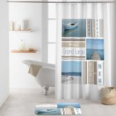 Royan Photographic Shower Curtain with Hooks - Blue