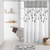 Tallulah Shower Curtain with Hooks - Grey
