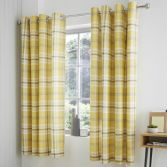 Catherine Lansfield Kelso Check Fully Lined Eyelet Curtains - Ochre Yellow