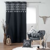 Mohicana 100% Cotton Eyelet Curtain Panel with Tassells - Black
