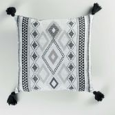 Inca 100% Cotton Cushion with Tassells - White & Black
