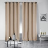 Pair of Occult Plain Blackout Eyelet Curtains - Beige