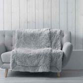 Marilou Faux Fur Throw Blanket - Silver Grey