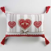 Edelweiss Heart 100% Cotton Boudoir Cushion with Pom Pom - Natural