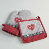 Edelweiss Heart 100% Cotton Kitchen Oven Glove & Pot Holder - Natural & Red