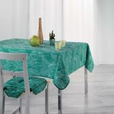 Gatsby Tablecloth with Printed Leaves - Green