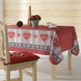 Edelweiss Heart Printed Tablecloth - Red