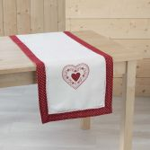 Monlisa Heart  Embroidered Table Runner - Red