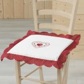 Monlisa Heart Embroidered Seat Pad - Red