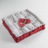 Edelweiss Heart 100% Cotton Floor Booster Cushion - Natural