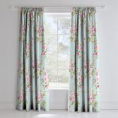 Catherine Lansfield Canterbury Fully Lined Tape Top Floral Curtains - Blue/Multi