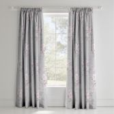 Catherine Lansfield Canterbury Fully Lined Tape Top Floral Curtains - Grey