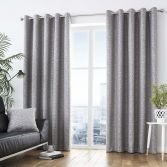 Africa Textured Fully Lined Eyelet Curtains - Graphite Grey