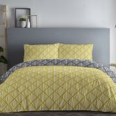 Brooklyn Geometric Reversible Duvet Cover Set - Ochre Yellow & Black