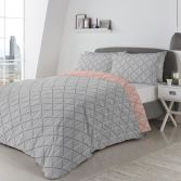 Brooklyn Geometric Reversible Duvet Cover Set - Grey & Coral