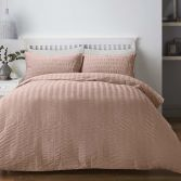 Seersucker Woven Duvet Cover Set - Blush Pink
