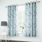 Catherine Lansfield Shrewsbury Floral Fully Lined Eyelet Curtains - Duck Egg Blue