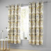 Catherine Lansfield Annika Fully Lined Eyelet Curtains - Ochre Yellow